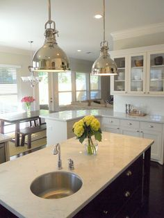 Cottage, nautical, Nantucket...great kitchen  Island lights.