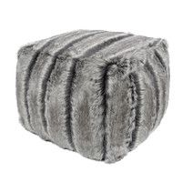 4acefb877285 This luxurious Faux Fur Cube in Aspen makes a wonderful foot stool