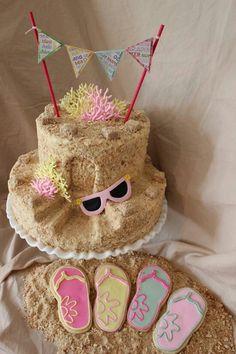 Sand castle cake & flip flop cookies