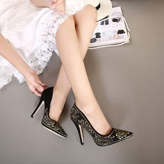 2016 new European&british style cheap woman Sexy Flock leather vintage Flower sequins wedding sandals pumps shoes woman pointed toe black High Stiletto Heel nude Platform Sandal evening party shoes ladies high heels Valentine's heeled pump women work Club shoes zapatos de tacones de mujer 128