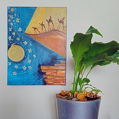 Items similar to Original Painting Surreal Camel Desert Dream acrylic canvas decor decoration gold blue moon flowers on Etsy Desert Dream, Acrylic Canvas, Parlour, Surrealism, Camel, Original Paintings, Deserts, The Originals, Unique Jewelry