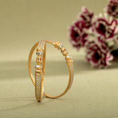 Kadli Bangles gms) - Fancy Jewellery for Women by Jewelegance Plain Gold Bangles, Gold Bangles Design, Gold Earrings Designs, Gold Jewellery Design, Indian Gold Bangles, Fancy Jewellery, Diamond Jewellery, Gold Bangle Bracelet, Emerald Bracelet