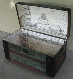 Loving the old maps as a lining on this trunk.  Very cool!