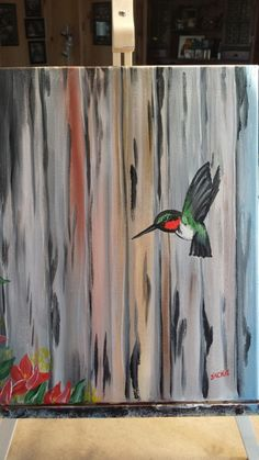 Hummingbird beginner acrylic on canvas