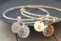 Dandelion Bracelets Gift Mother of the Bride Gift from bride sterling silver charm Rose gold charm Personalized Jewelry Initial charm Mother Daughter Bracelets, Daughter Necklace, Rose Gold Charms, Silver Charms, Gold Bangle Bracelet, Gold Bangles, Rose Gold Initial Necklace, Silver Rings Handmade, Pink Earrings