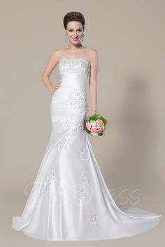 TBDress - TBDress Strapless Applique Lace-Up Court Train Trumpet/Mermaid Wedding Dress - AdoreWe.com