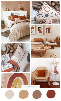 home decor interior moodboard, inspiration burnt orange & brown. Radiating warmth, energy and relaxation, burnt orange and brown neautral shades will definetelly add warmth and sophistication into any room. Living Room Orange, Bedroom Orange, My Living Room, Warm Colours Living Room, Warm Bedroom Colors, Living Room Decor Orange, Interior Design Living Room Warm, Bedroom Colour Palette, Bedroom Color Schemes