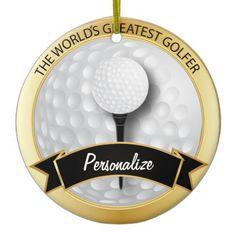 World's Greatest #Golfer | #Personalize #Christmas Tree #Ornament #zazzlebesties #zazzle #gift