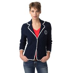 A comfortable style staple for the season. Unique cotton-cashmere blazer in timeless cable patterns for a distinctly nautical look. White accent along the collar, placket, bottom hem and cuffs. Tommy Hilfiger logo patch on the chest, flag on the sleeve. Hits at the hips. Fully lined. Our model is 1.76m and is wearing a size S Tommy Hilfiger blazer.