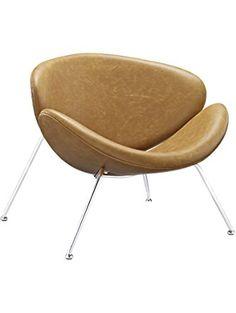 LexMod Nutshell Mid-Century Style Lounge Chair in Tan Vinyl ❤ Lexmod