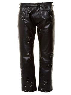 CHRISTOPHER KANE Staple-Embellished Straight-Leg Leather Trousers. #christopherkane #cloth #trousers