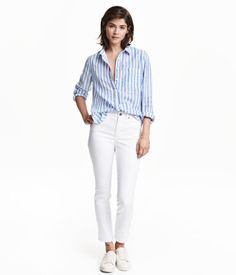 White. 5-pocket pants in stretch twill with a regular waist and slim, ankle-length legs.