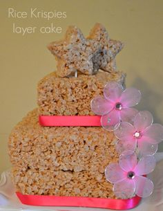 rice krispies layer cake flowers