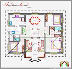 3 bedroom house plan in 1200 square feet eith nalukettu style house design, beautiful courtyard plan, Square House Plans, House Layout Plans, Duplex House Plans, Dream House Plans, Small House Plans, Plans For Houses, House Design Plans, 1200sq Ft House Plans, Small Floor Plans