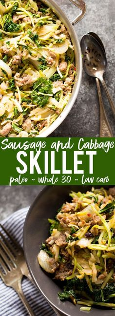 This Easy Sausage and Cabbage Skillet is my go to quick, easy and healthy weeknight dinner!  Low Carb, Gluten Free, Whole 30, Paleo and all made in one pan - with minimal prep and easy cleanup!