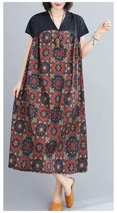 Kurta Designs, Blouse Designs, Linen Dresses, Cotton Dresses, Simple Dresses, Casual Dresses, Batik Fashion, Look Retro, Cotton Tunics