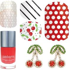 Cherry Jubilee - Jamberry by easilydistractedgirl on Polyvore featuring beauty, SHOUROUK, poppy, sunkissedlacquer, CherryO and WhiteMiniPolka