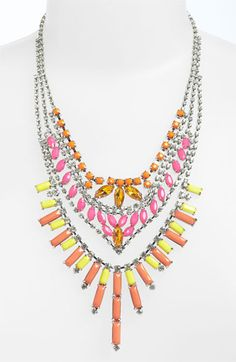 Neon Rhinestone Statement Necklace