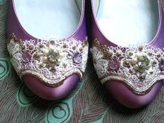Purple Ballet Flats #Wedding #Shoes #Purple $115
