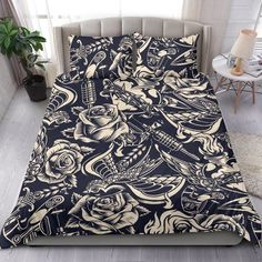 Are you looking for unique bedding sets for adults? We got you covered. All of our bedding sets have unique designs such as gothic bedding sets, skull bedding sets and more. Our bedding sets are super-soft, comfortable, and perfect for any season. Each bedding set comes with a duvet cover and 2 pillow covers. Blue Bedding Sets, Queen Bedding Sets, Gothic Bed, Japanese Warrior, Bed Sheets, Pillow Covers, Pillow Inserts, Unique Bedding, Comforters