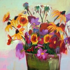 """""""Cosmos and Black Eyed Susans Painting"""" original fine art by Angela Moulton"""