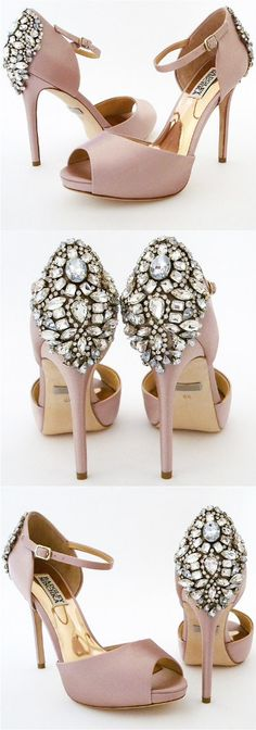"""Dawn by Badgley Mischka. A favorite has returned better than ever! Dawn offers vintage glam at it's best in a fabulous blush shade that works all year around. Peep toe, ankle strap, on a 4"""" heel with a 3/4"""" covered platform, finished with a fabulous sparkling ornament at the back of the heel."""