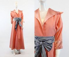 40s Faille Dressing Gown Small  / 1940 Vintage Rayon Wrap