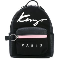 Kenzo small Signature backpack ($505) ❤ liked on Polyvore featuring bags, backpacks, black, kenzo bag, kenzo, top handle bags, zip top bag and rucksack bags