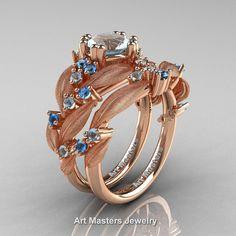 Nature Classic 14K Rose Gold 1.0 Ct Aquamarine Blue Topaz Leaf and Vine Engagement Ring Wedding Band Set R340SS-14KRGBTAQ | ArtMastersJewelry