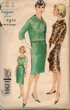 Vogue 4318 1960s Misses Special Design Suit and Blouse Pattern Kimono Sleeve Jacket and Slim Skirt womens vintage sewing pattern by mbchills