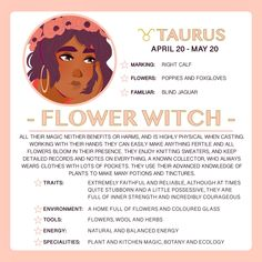 """TAURUS - THE FLOWER WITCH """"Apologise for the delay with Taurus, but dun dun da da! I have officially completed all 12 Horoscope Witches! Hope everyone liked seeing their own horoscope."""