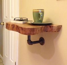 Log Wood and Pipe Shelf / Nightstand / End Table by Reclaimtofame1