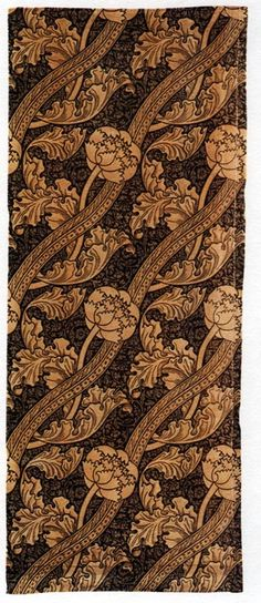 "Florence, a block-printed velveteen textile, ca.1880, by John Henry Dearle (1869–1932). Manufactured by Morris & Co, 157.5 x 64.25 cm (65 x 25 1/4""). #morris #design"