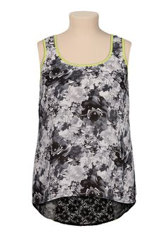 High-low Neon trim lace back plus size tank - maurices.com