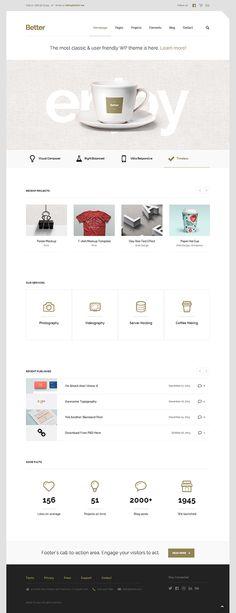 Better – Minimalistic Business WordPress Theme by CreAtive Web Themes on Inspirationde Web Ui Design, Best Web Design, Page Design, Tool Design, Web Themes, Website Themes, Website Layout, Website Designs, Interface Web