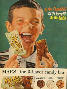 MARS Toasted Almond Bar Ad, This is way before my time. Never knew Mars was in a White Wrapper.