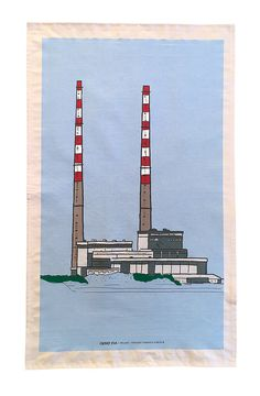 Tea Towel Poolbeg Chimneys Dublin Line Drawing by CloverRua Peg Loom, Packaging Solutions, Red And White Stripes, Line Drawing, Tea Towels, Dublin, Watercolor Art, Screen Printing, How To Draw Hands