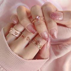 Maron de bijou on IG on We Heart It Korean Nail Art, Korean Nails, Wedding Nails For Bride, Bride Nails, Wedding Shoes, Cute Nails, Pretty Nails, Nail Art Pictures, Kawaii Nails