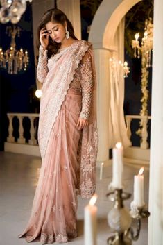 Shop Online New Launching Superhit Designer Peach Bollywood Saree Collection Pakistani Formal Dresses, Pakistani Wedding Dresses, Formal Dresses For Weddings, Pakistani Outfits, Saree Wedding, Indian Dresses, Formal Wedding, Gothic Wedding, Wedding Wear