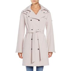 Calvin Klein Petite ?Hooded Double-Breasted Trench Coat ($100) ❤ liked on Polyvore featuring outerwear, coats, blush, hooded trenchcoat, pink trench coat, hooded trench coats, calvin klein and trench coat