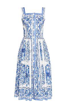 This dress looks like beautiful Delft pottery. Dolce & Gabbana - Sleeveless Abito Button Down Dress