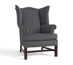 Thatcher Upholstered Armchair, Polyester Wrapped Cushions, Linen Blend Gunmetal Gray