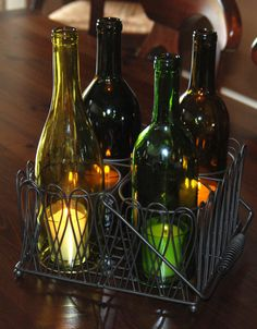 4 Wine Bottle Hurricanes in Black Wire Caddy by aandkaccents, $38.00