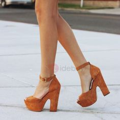 Tidebuy.com Offers High Quality Suede Brown Peep Toe Buckle Block Heel Platform Sandals, We have more styles for Heel Sandals
