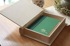 Merry Christmas Wooden Deer Keepsite Book Box W// Distressed Cloth Cover