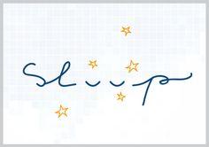 Sleep - slaap. Hand geschreven letters (geschetst), met een slapend oog teken als letter/icoon. Typografie - communicatie.