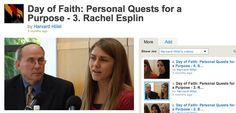 Great interview from a young student at Harvard - Rachel Esplin