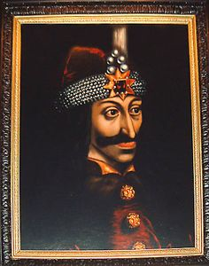 A professional reproduction of the original painting in the Ambras Schloss in Innsbruck.   Vlad Tepes Dracul, ruler of Wallachia in Romania 1456 - 1462 A.D    Also known as Vlad The Impaler, a historical figure that served as the origin of the Dracula myth.