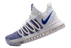 finest selection a53be 900fc Men s Nike KD 10 X Kevin Durant White Blue boys Basketball Shoes