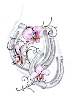 Tattoo that I eventually want to get. Symbolizes my love of my horse Sweet Pea with the sweet pea flowers and horseshoes